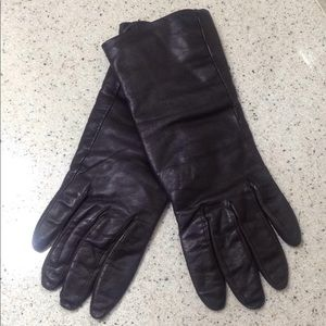 Brown leather cashmere lined gloves, size 7 1/2